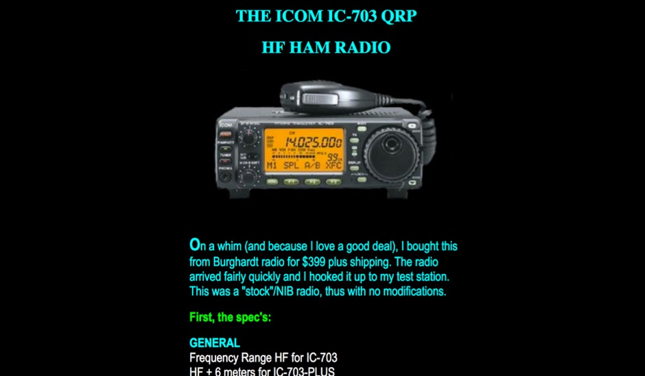 DXZone The Icom IC-703 QRP