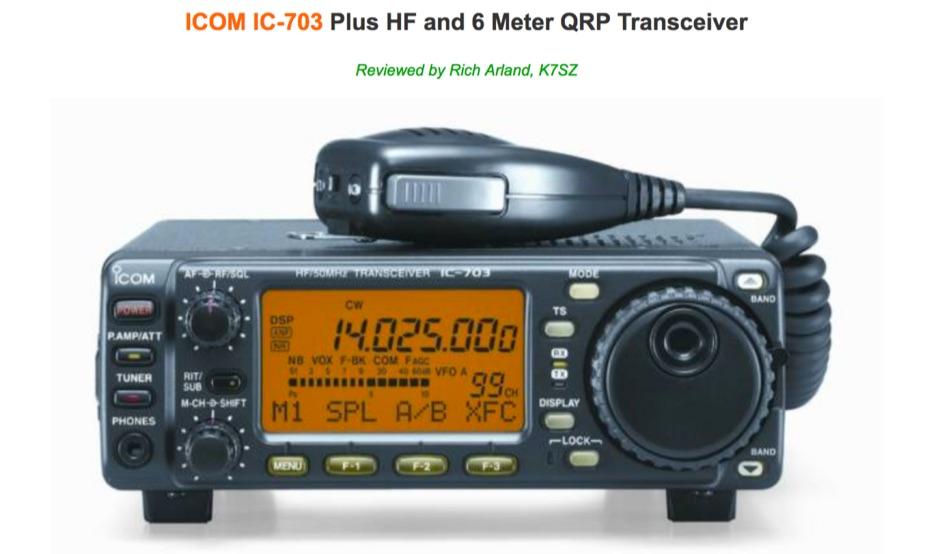 The Icom IC-703 Reviewed