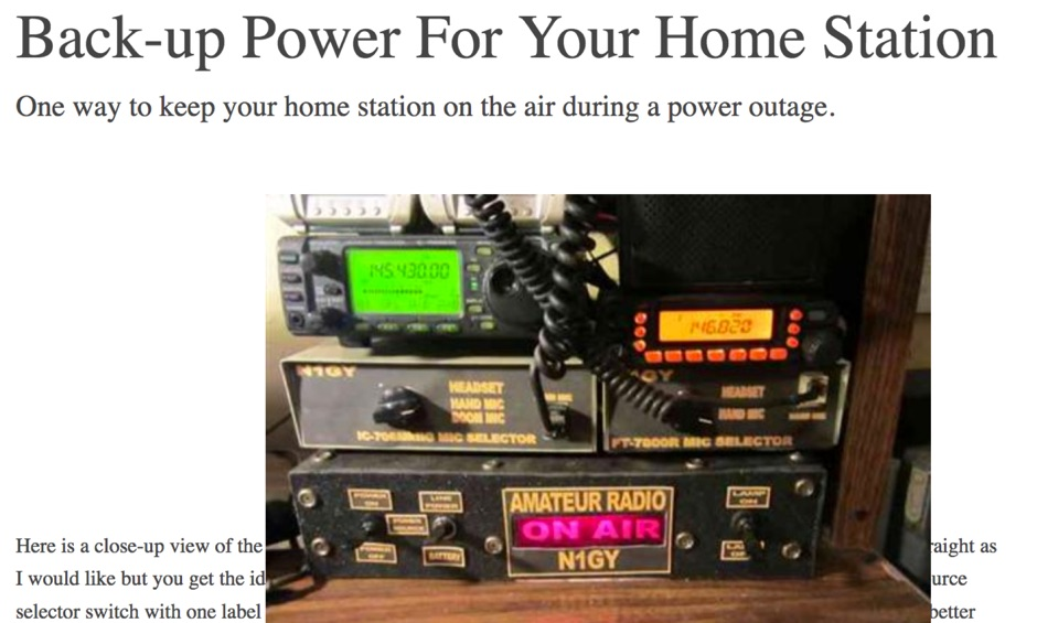 Back-up Power For Your Home Station