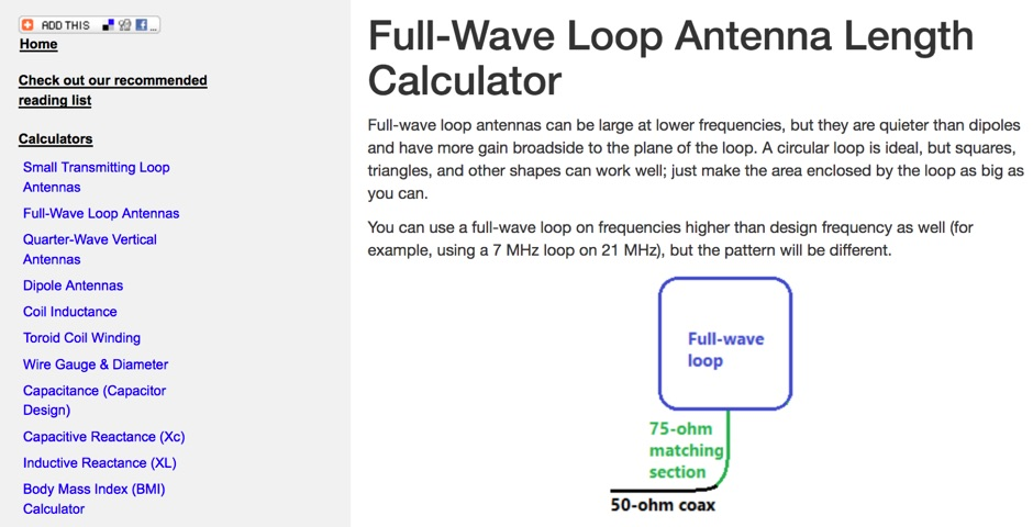 Full Wave Loop Antenna Calculator