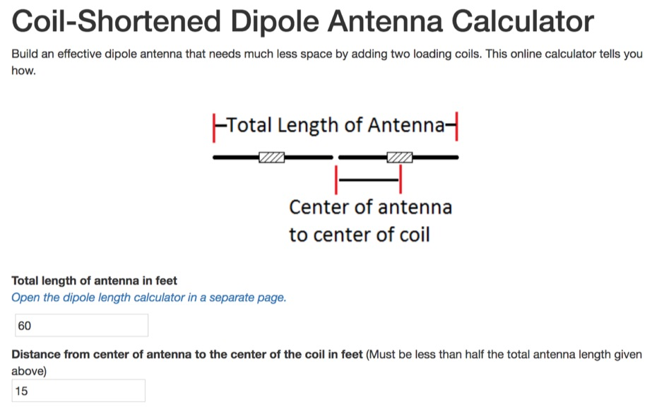 DXZone Coil-Shortened Dipole Antenna Calculator