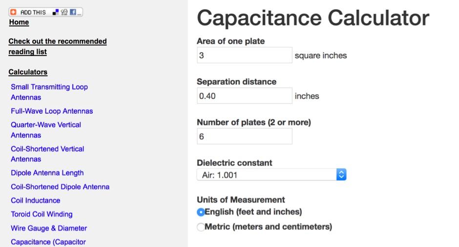 DXZone Capacitance Calculator