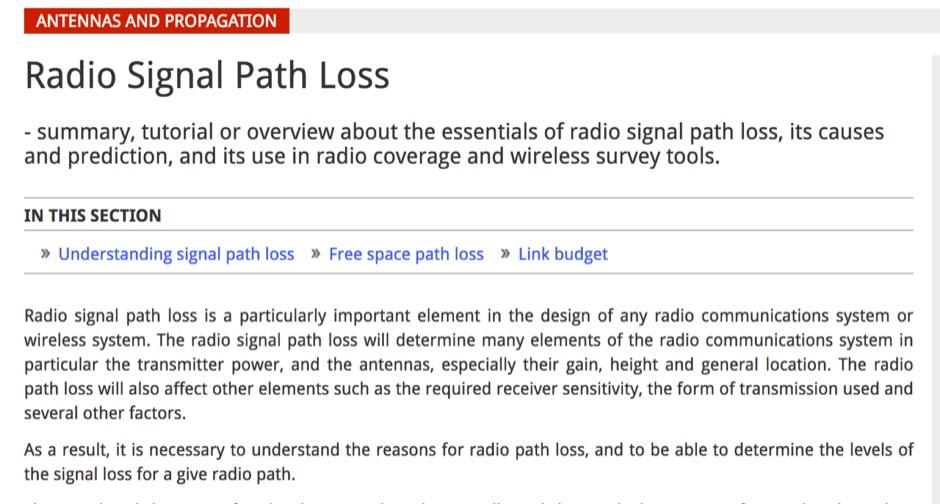 Radio Signal Path Loss