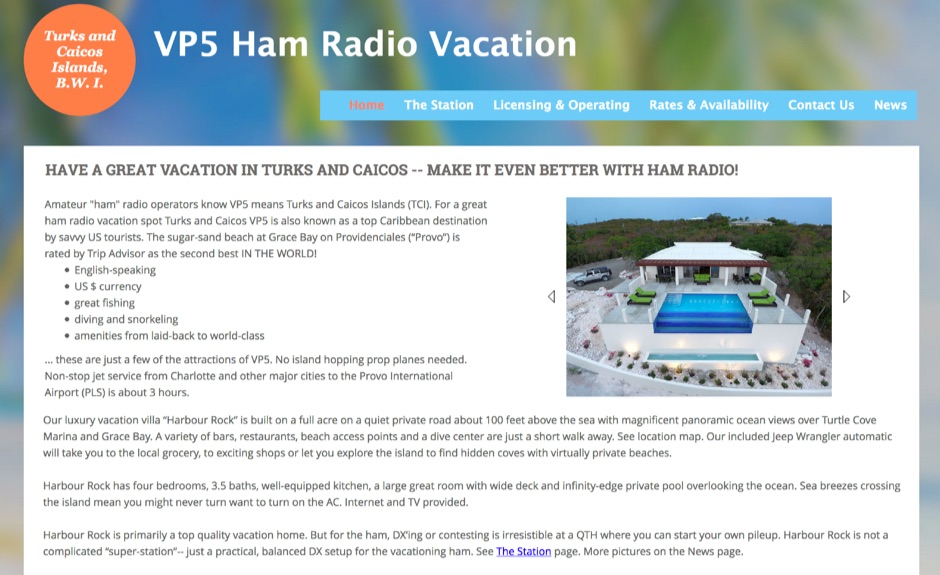 VP5 Ham Radio Vacation Rental in Turks and Caicos