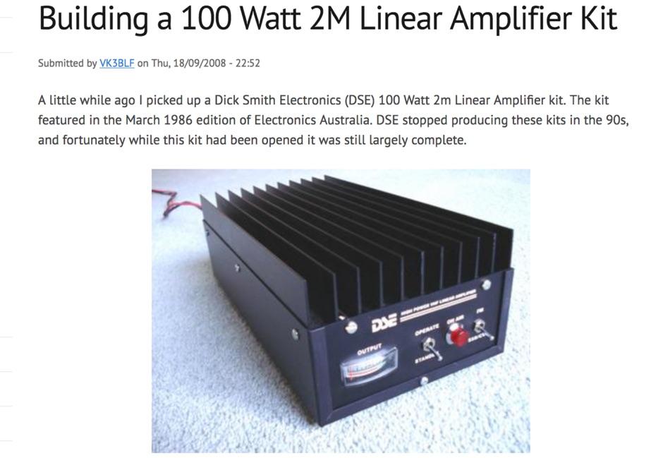 Building a 100 Watt 2M Linear Amplifier