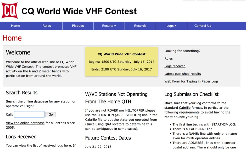 DXZone CQ World Wide VHF Contest