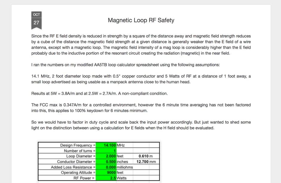 Magnetic Loop RF Safety