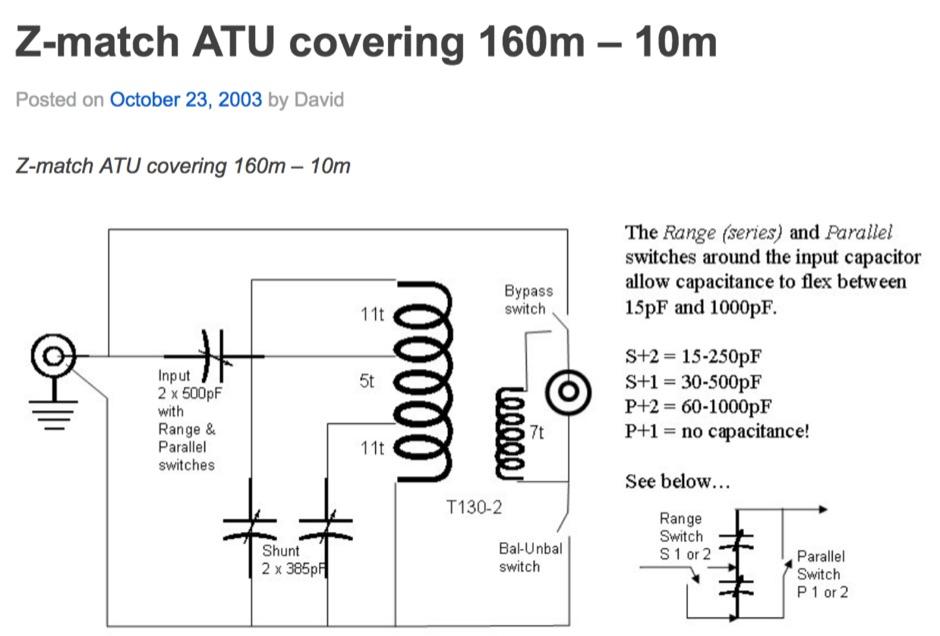 Z-match ATU covering 160m - 10m