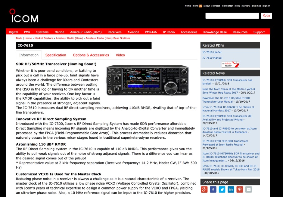 ICOM IC-7610 Product page at ICOM UK