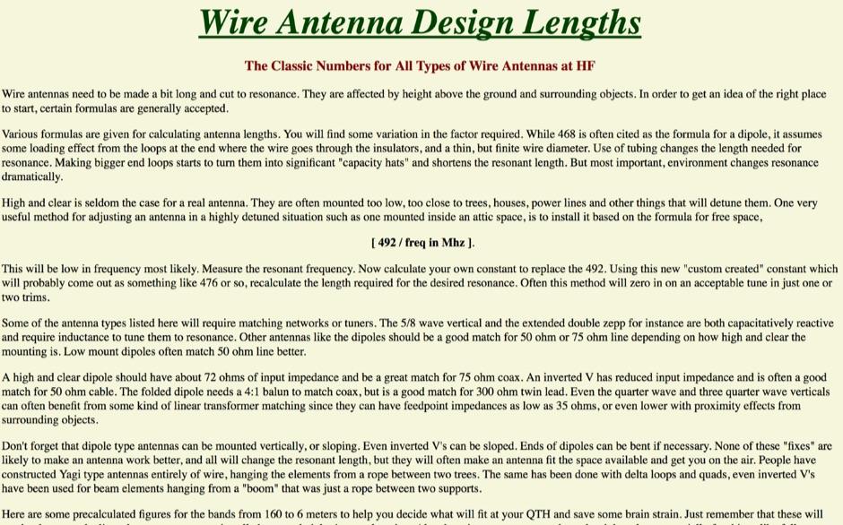 Wire Antenna Design Lengths