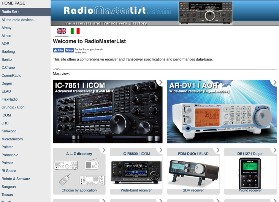 RadioMasterList, a comprehensive radio set performances and specifications database