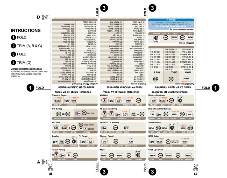 VX-8R Cheat Sheet