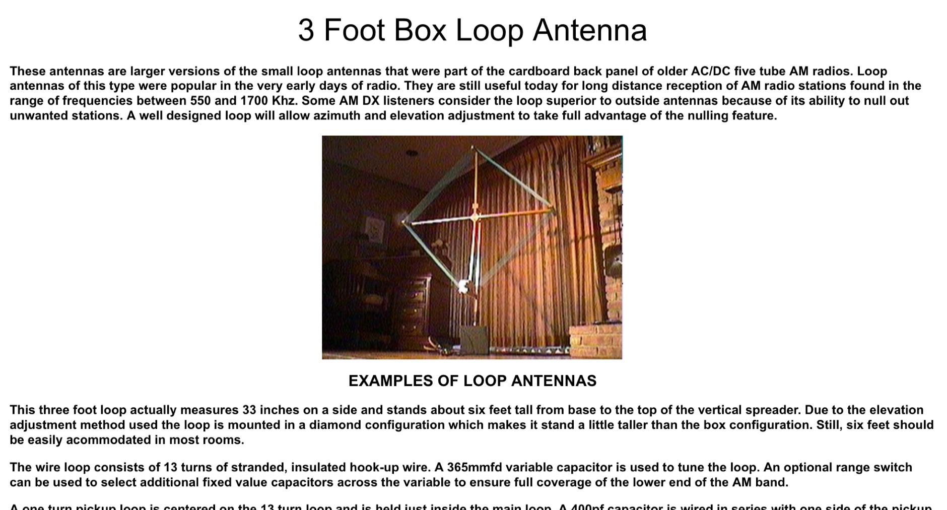 3 Foot Box Loop Antenna
