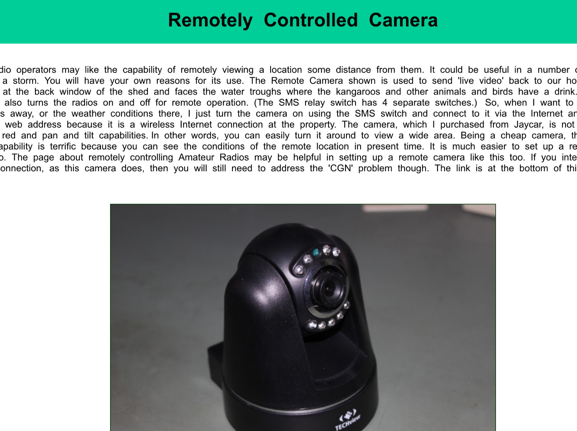 DXZone Remotely Controlled Camera by VK5SW