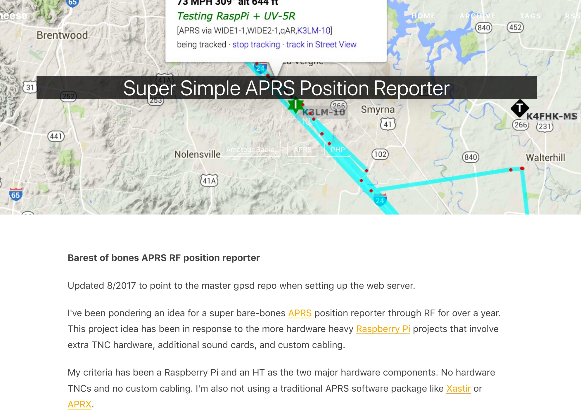 A Simple Raspberry APRS Position Reporter