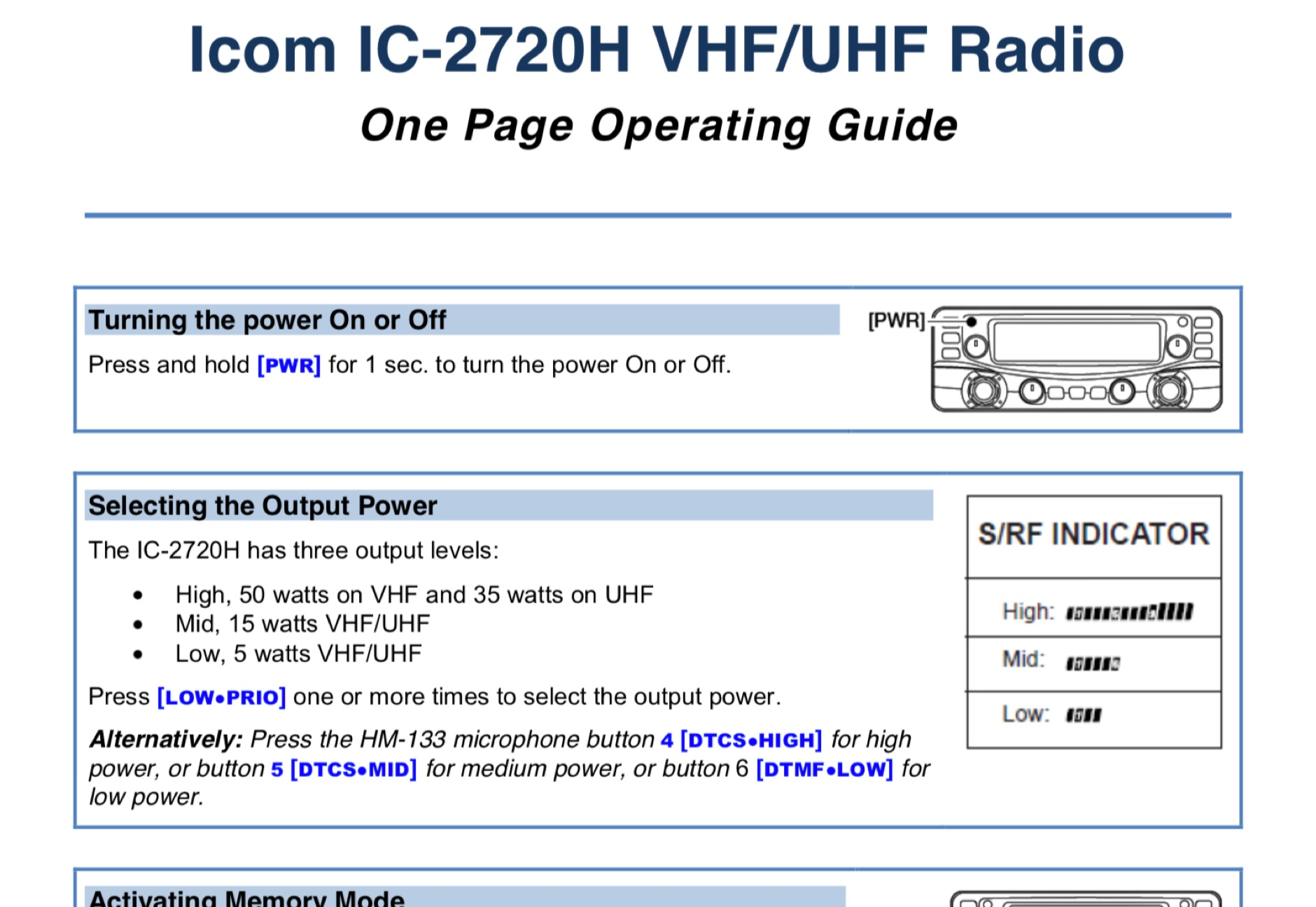 Icom IC-2720H One Page Operating Guide