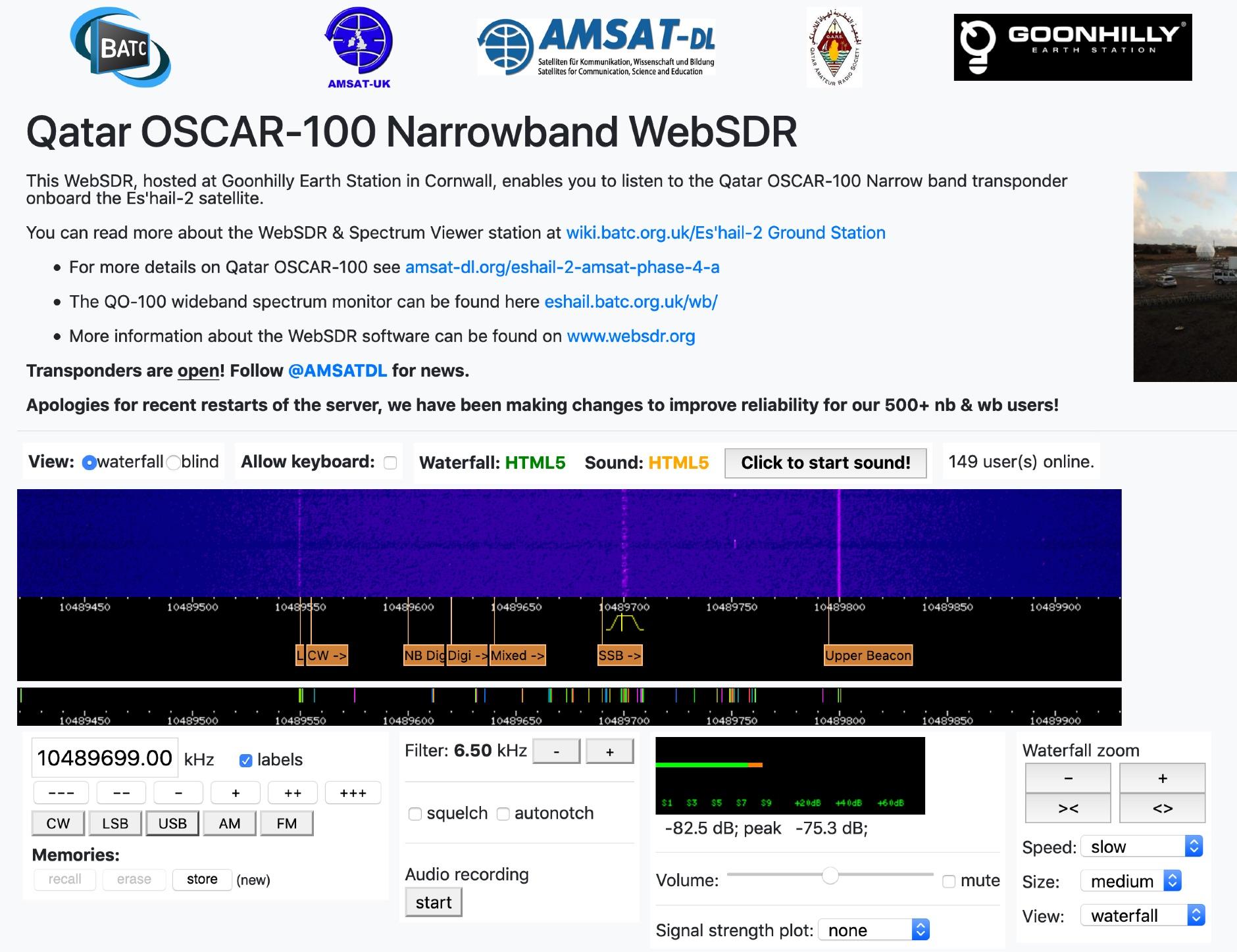 OSCAR-100 WebSDR