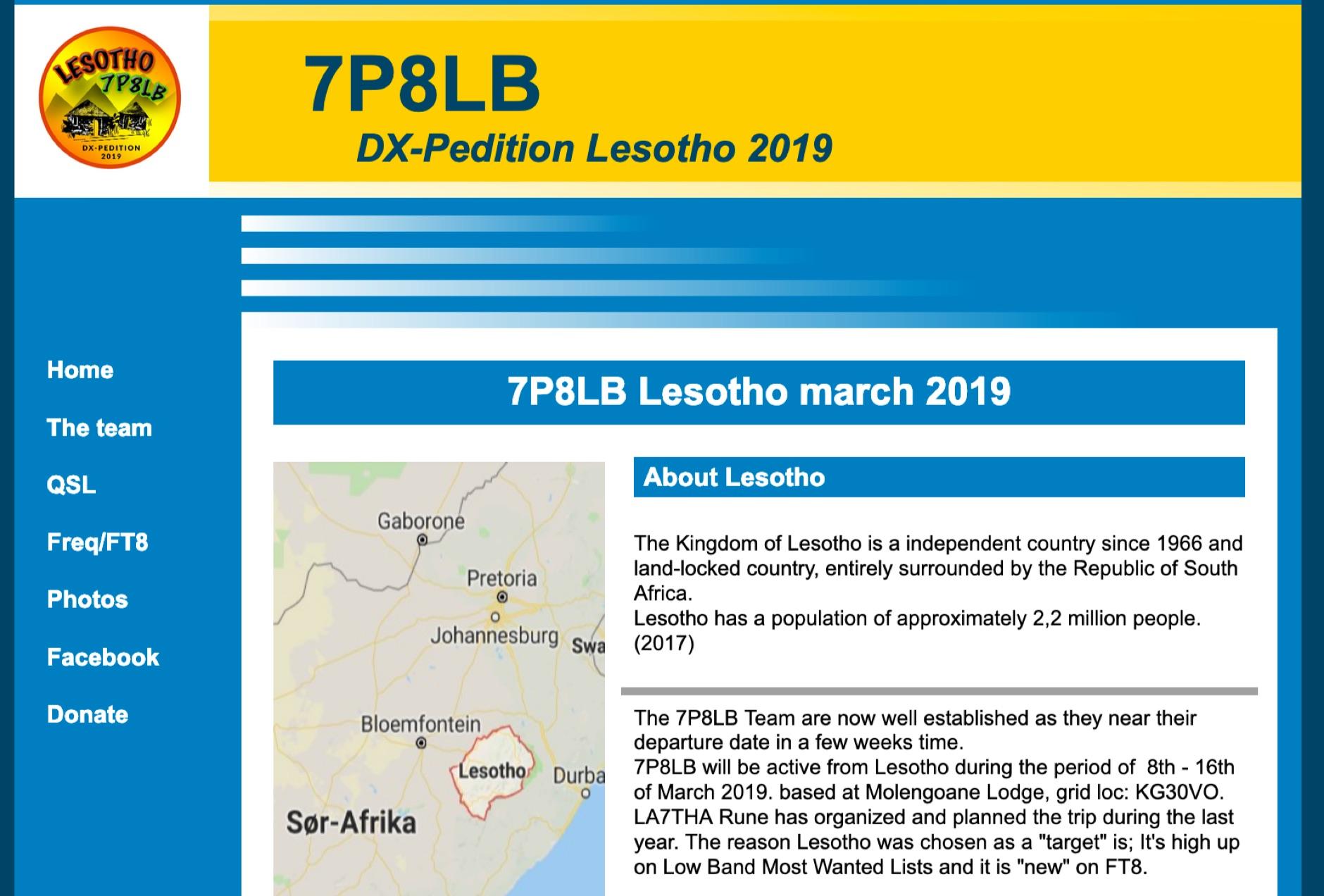 7P8LB Lesotho 2019