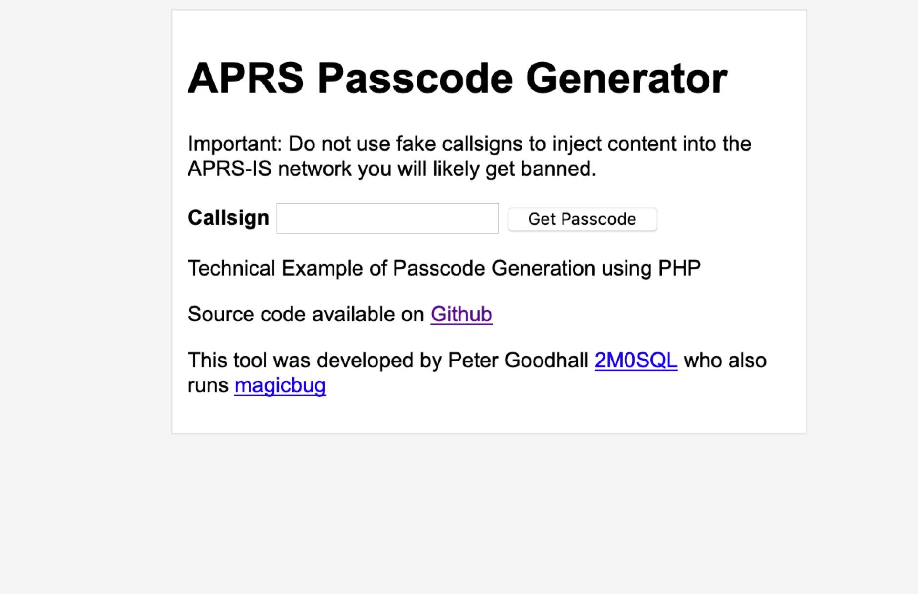 APRS Online Passcode Generator