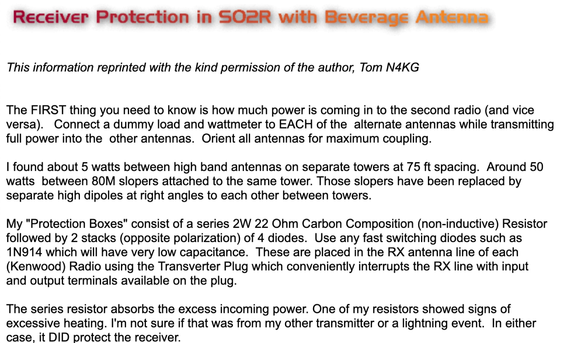 Receiver Protection in SO2R and Beverage Antennas