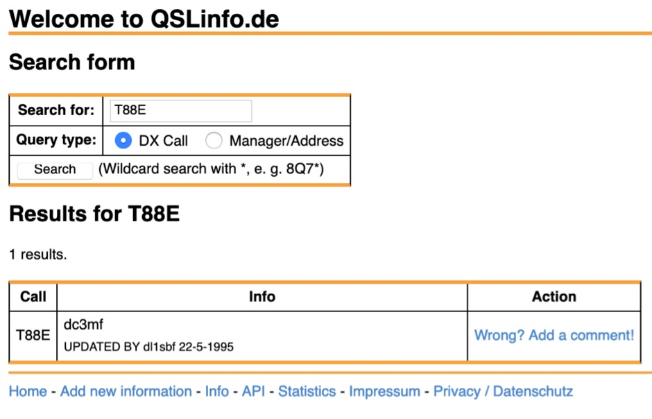 QSLInfo.de QSL manager database