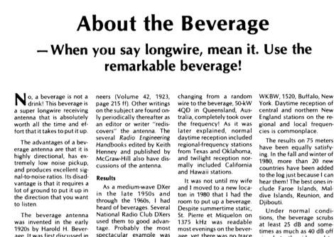 DXZone About The Beverage Antennas - Receiving Antennas
