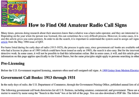 DXZone How to Find Old Amateur Radio Call Signs