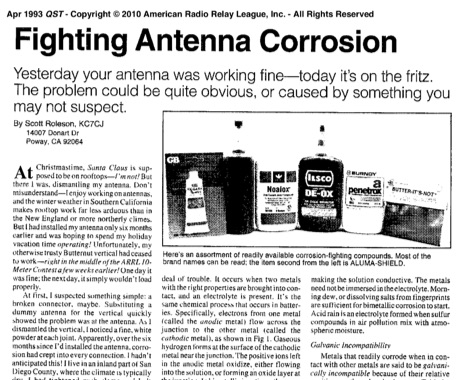 DXZone Fighting Antenna Corrosion - Antenna Maintenance