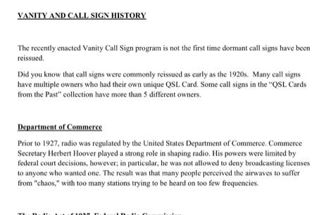 Vanity Call Sign History