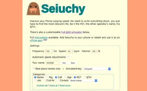Seiuchy On-line morse code trainer