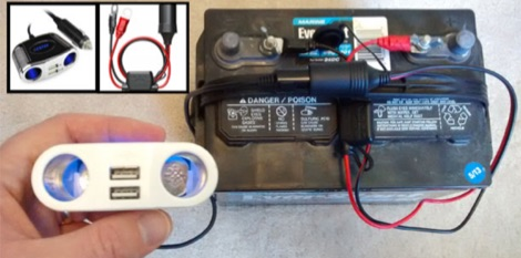RV marine battery as power source