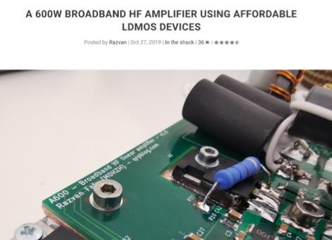 A Compact 600W Broadband HF Power Amplifier