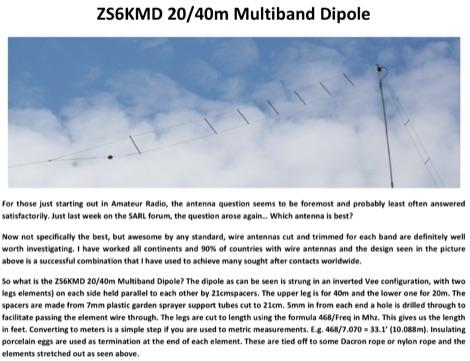 DXZone ZS6KMD 20-40m Multiband Dipole