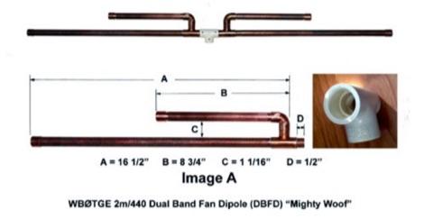 DXZone Mighty Woof  2m 70cm Dual Band Fan Dipole