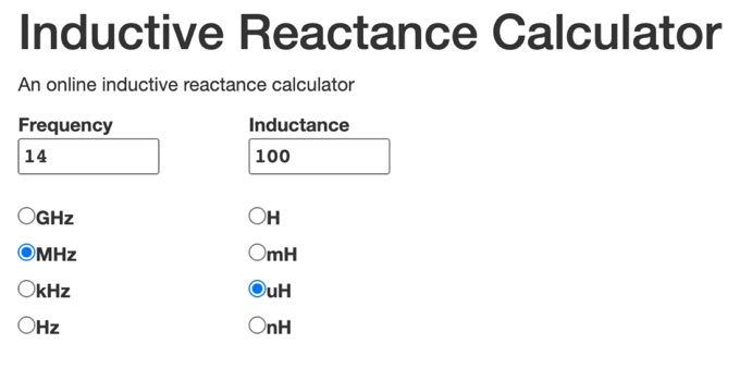 DXZone Online Inductive Reactance Calculator