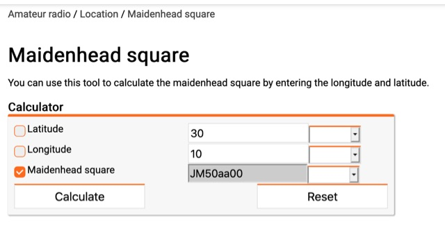 DXZone Maidenhead square Calculator
