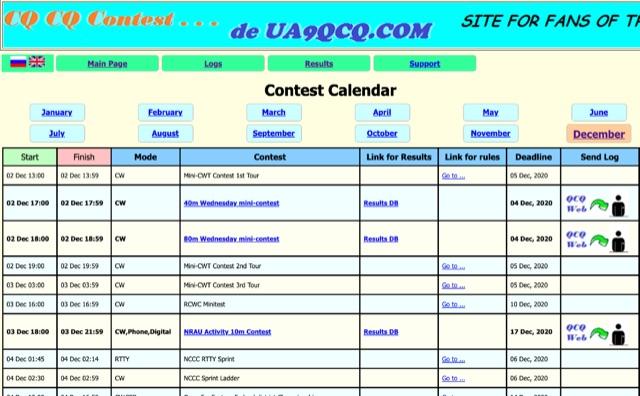 DXZone UA9QCQ Contest Calendar