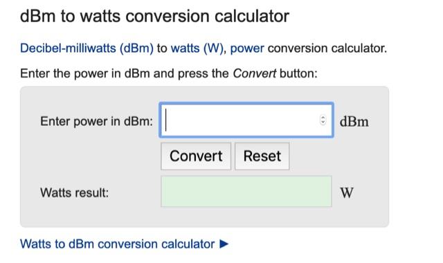DXZone Online dBm to watts conversion