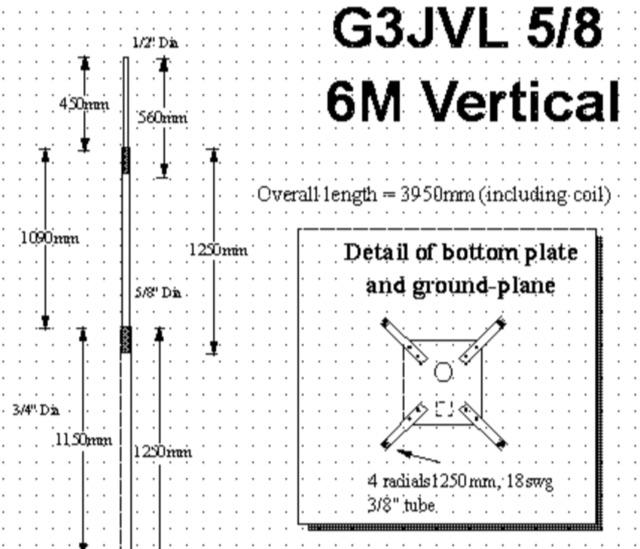 DXZone G3JVL Vertical Antenna for 50 MHz
