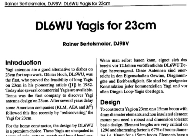 DXZone DL6WU Yagi Antennas for 1200 MHz