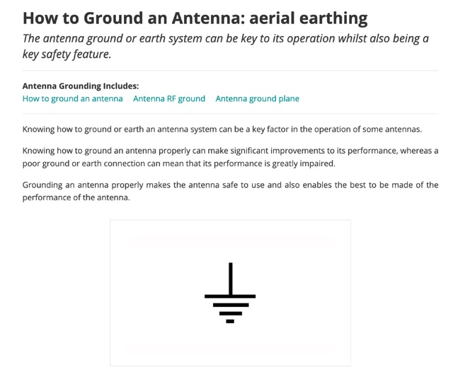 DXZone How to Ground an Antenna: aerial earthing