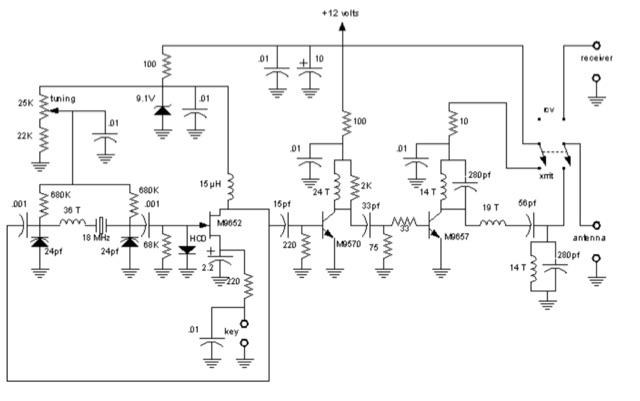 DXZone 17 meter QRP Transmitter