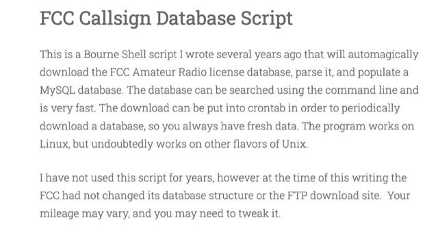 DXZone FCC Callsign Database Script