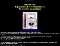 DXZone ESR METER: (Equivalent Serie Resistance of capacitors)