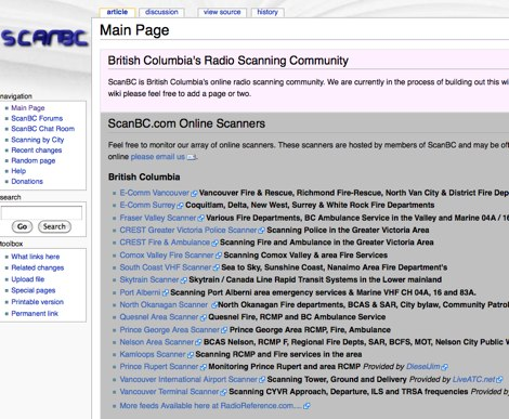British Columbia's Online Radio Scanning Community