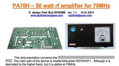 50W Power Amplifier for 70 MHz
