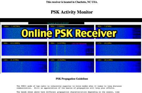 PSK31 HF Receiver in Charlotte NC  USA