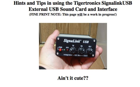 Signalink USB Interface - Setup notes