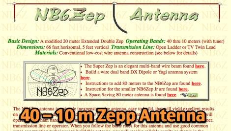 40 thru 10 Meter Zepp Antenna