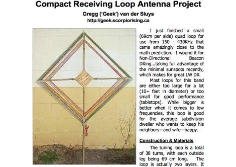 Compact receiving loop antenna